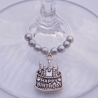 Happy Birthday Cake Wine Glass Charm